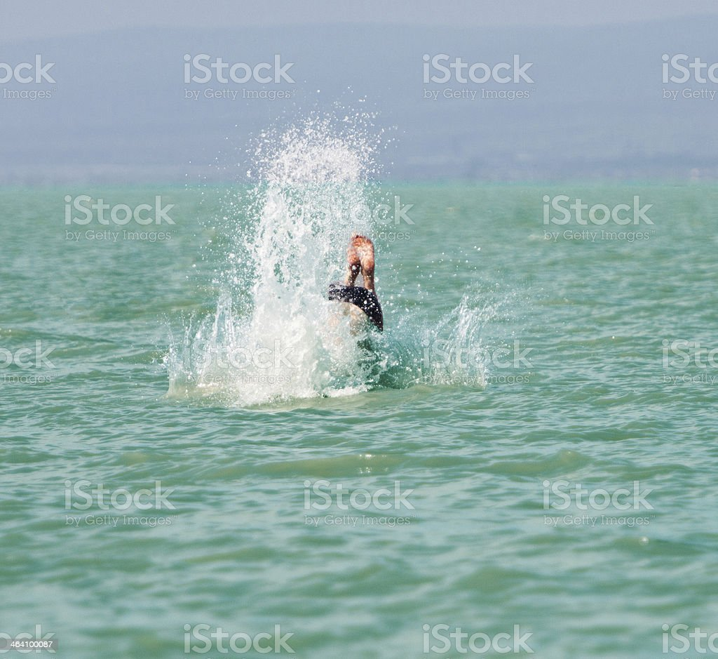 diver in the lake stock photo
