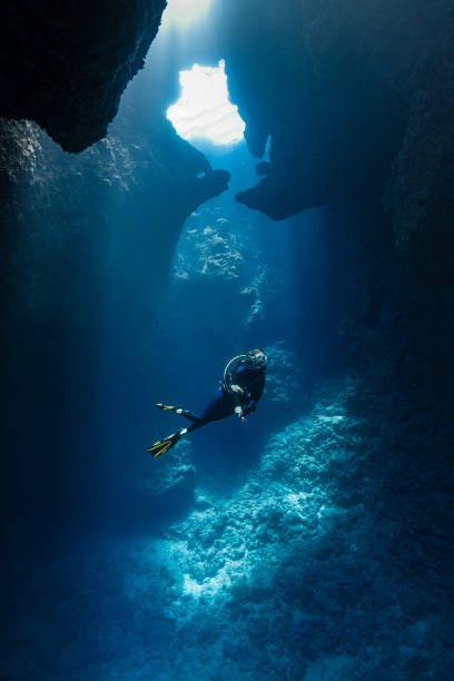diver inside the blue holes in palau, micronesia - oceano pacifico occidentale foto e immagini stock