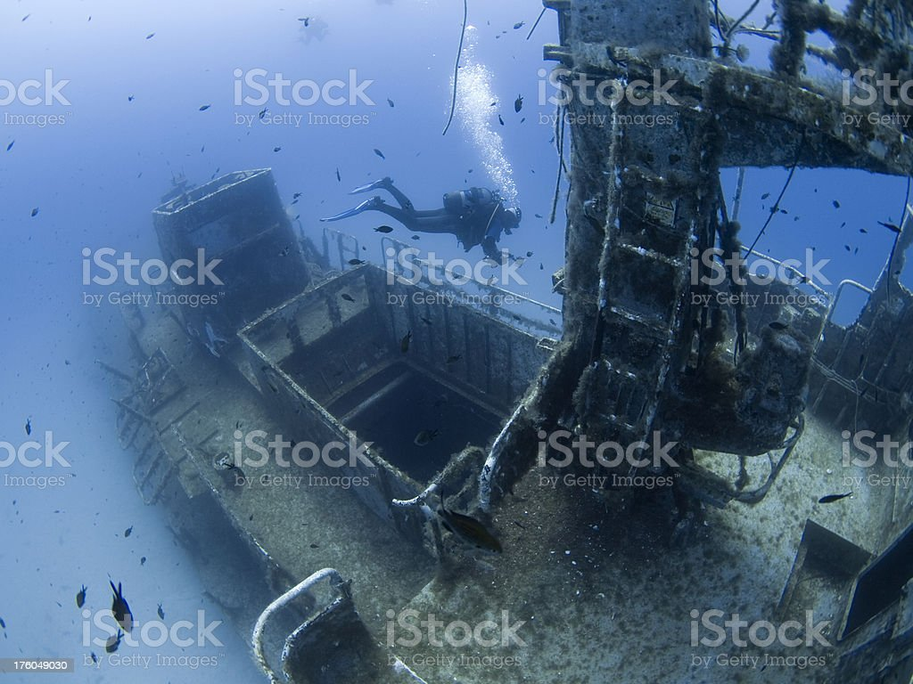 diver on a shipwreck royalty-free stock photo