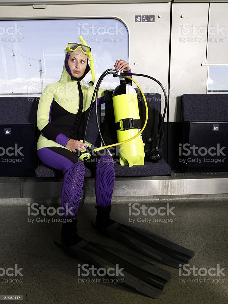 Diver on train royalty-free stock photo