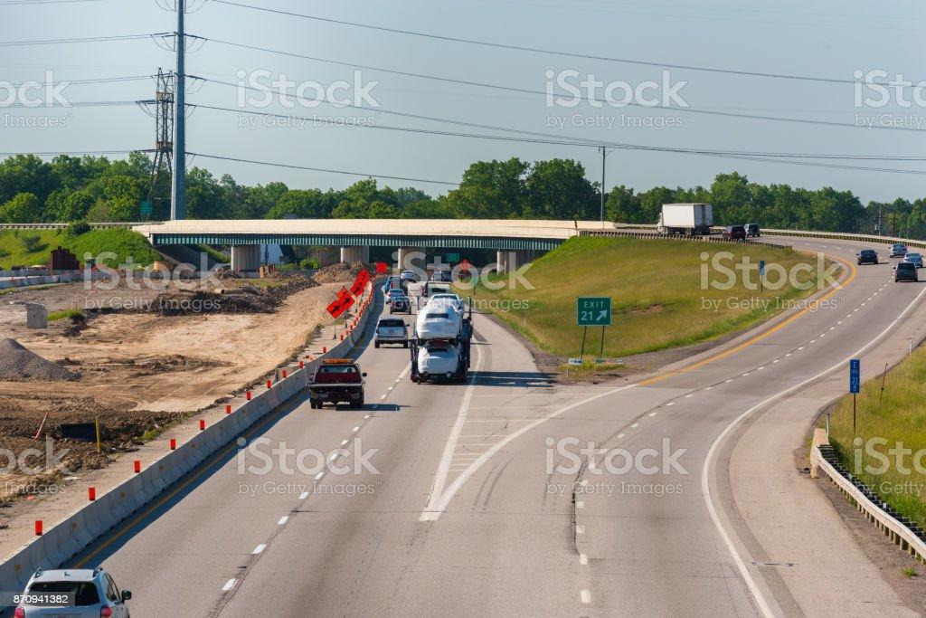Diverging freeways stock photo