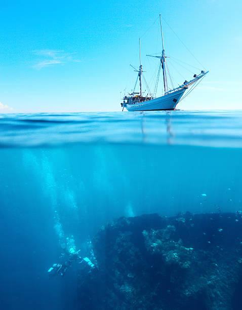 ダイバーズとボート - 小型船舶 ストックフォトと画像