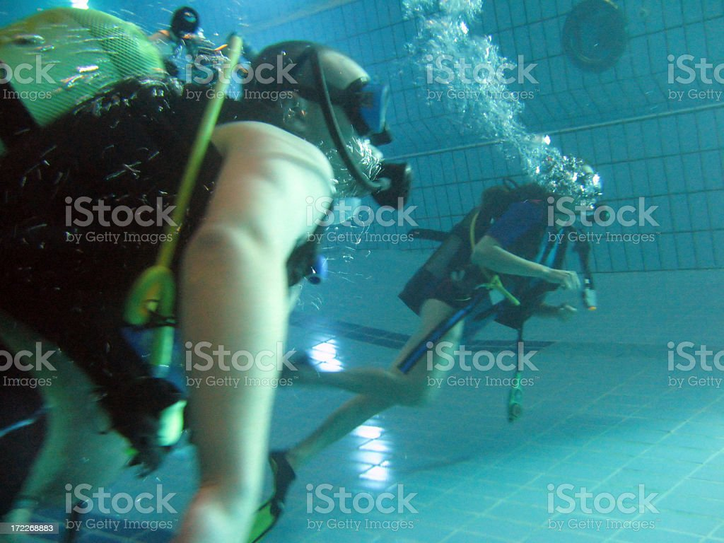 Divers in a pool royalty-free stock photo