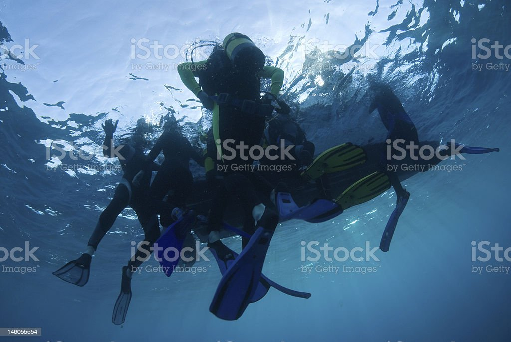 Divers on the surf royalty-free stock photo