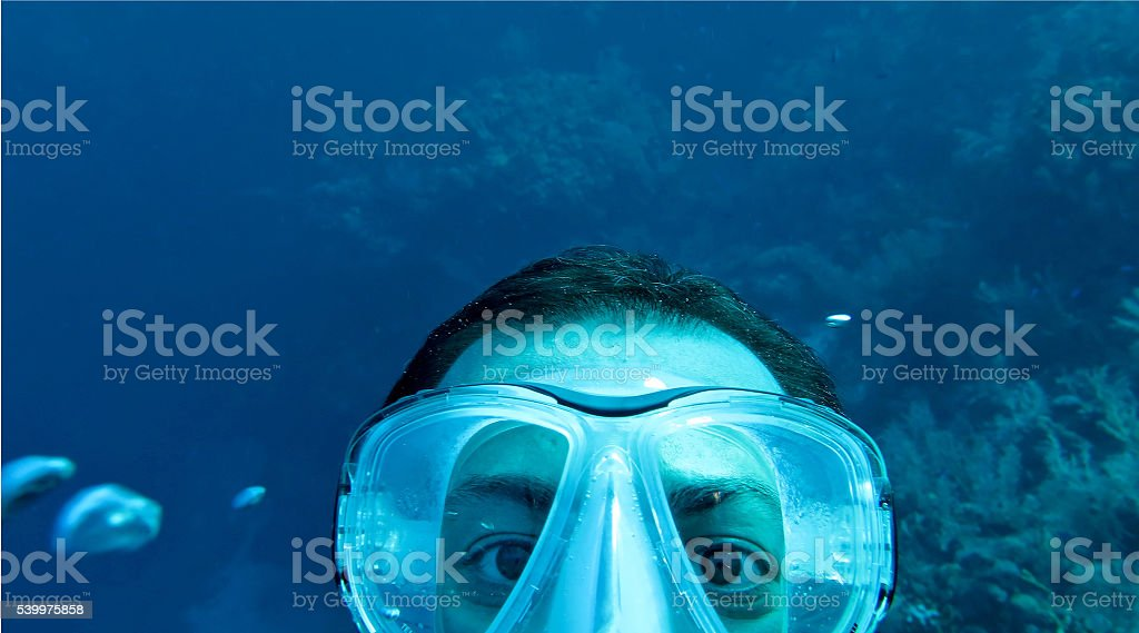 diver's sefie stock photo