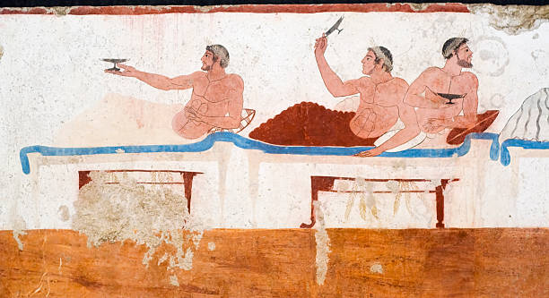 """Diver's Tomb, Paestrum from Ancient Greece Ancient Greek Fresco in Paestum, Italy, called the """"Tomb of the Diver"""" depicting men during a banquet. ancient civilization stock pictures, royalty-free photos & images"""