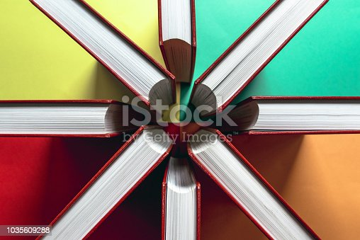 istock Diverse books arrangement with colorful background 1035609288