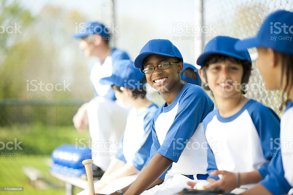 Diverse Boys Youth League Baseball Team stock photo