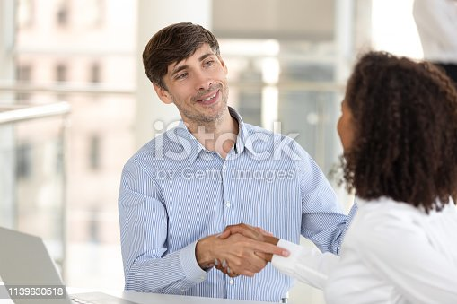 843963182 istock photo Diverse business partners shake hands after successful negotiations in office 1139630518