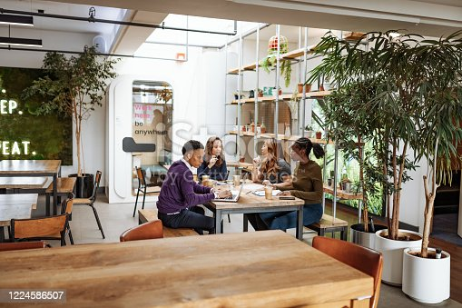 Diverse business people, teamwork in coworking office