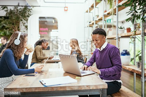 istock Diverse business people telecommuting from cafe 1224586881