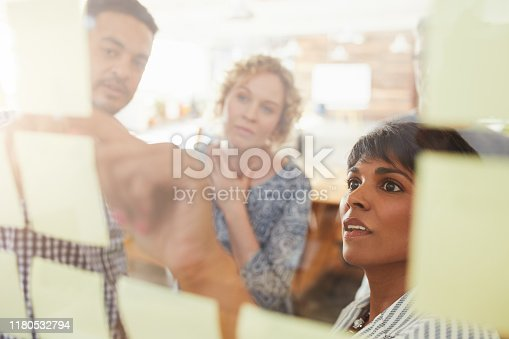Diverse group of businesspeople having a brainstorming session with yellow adhesive notes on a glass wall in an office