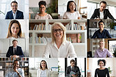 istock Diverse businesspeople using videoconference application laptop webcam screen view 1220226078