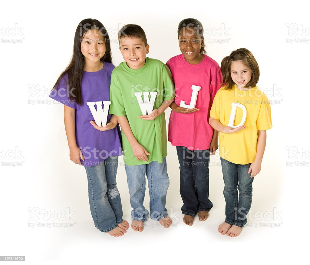 Diverse Children Ask WWJD royalty-free stock photo