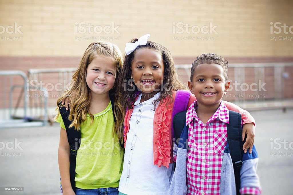 Diverse Children Going to Elementary school stock photo