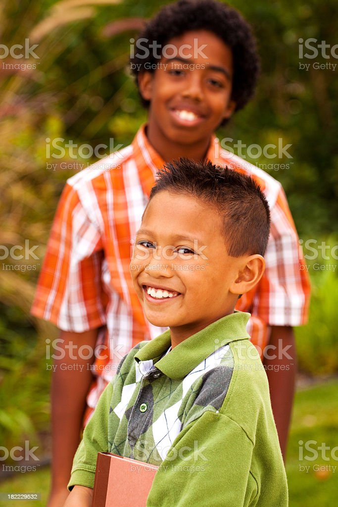 Diverse Children Outside royalty-free stock photo