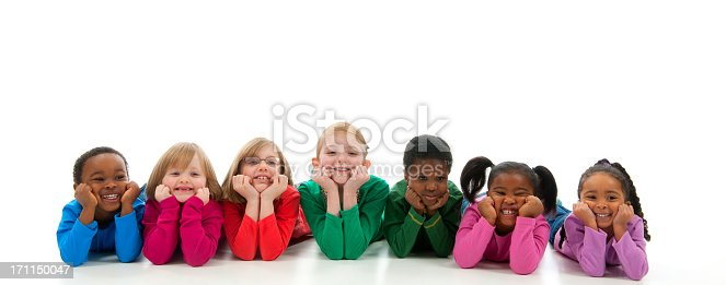 A diverse group of children on a white background - Buy credits