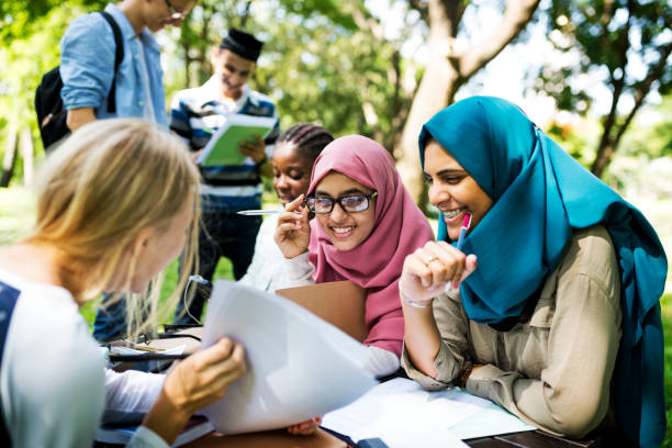 Diverse children studying outdoor Diverse children studying outdoor turkey middle east stock pictures, royalty-free photos & images