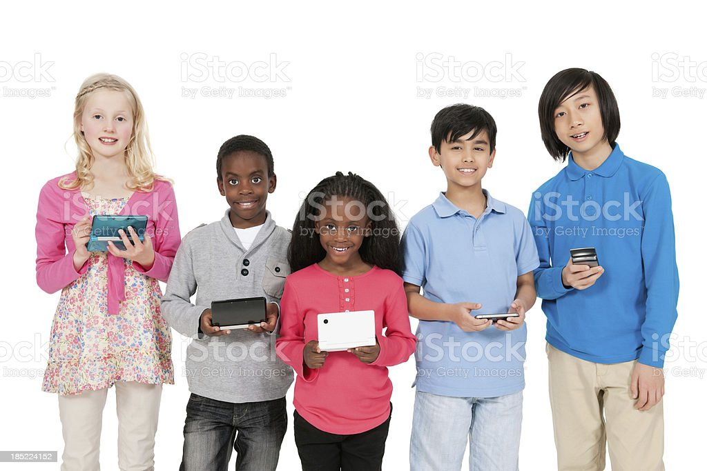 Diverse Children With Computer Games royalty-free stock photo