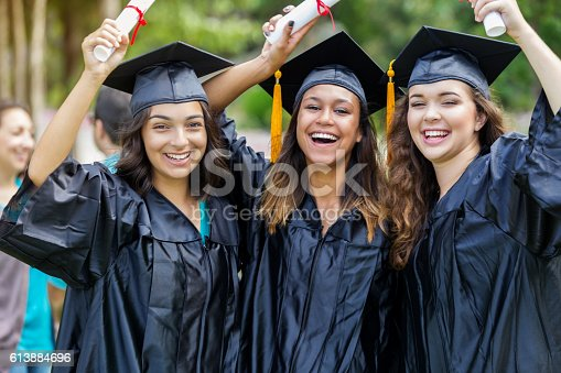 istock Diverse college grads celebrate after receiving diplomas 613884696