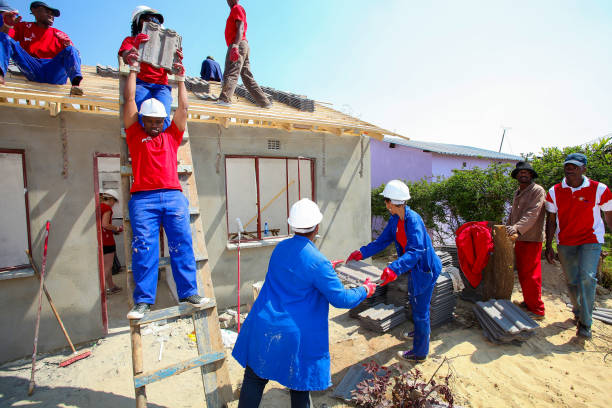 Diverse Community members building a low cost house as a team in Soweto stock photo