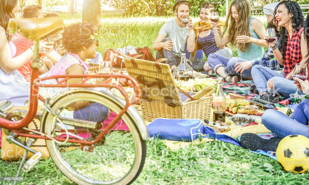 Diverse culture friends making picnic on city park outdoor - Young trendy people eating dinner in backyard outside - Focus on african hair girl - Youth and friendship concept - Vintage retro filter stock photo