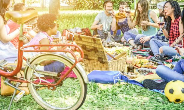Vielfältige Kultur-Freunde machen Picknick am Stadtpark outdoor - junge trendige Leute Essen Abendessen im Hinterhof außerhalb - Fokus auf afrikanische Haar Mädchen - Jugend und Freundschaft Konzept - Vintage Retro-filter – Foto