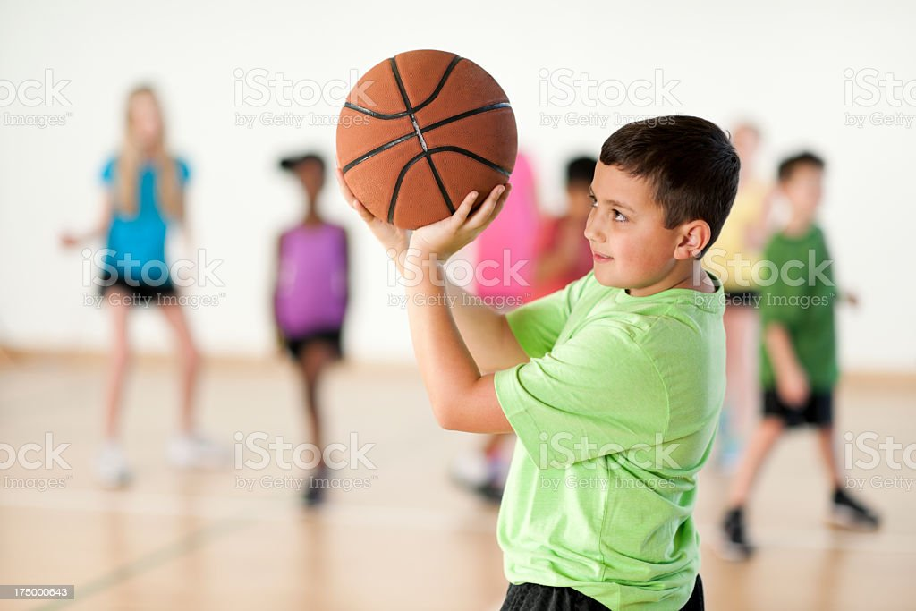 Diverse Elementary Gym Class stock photo