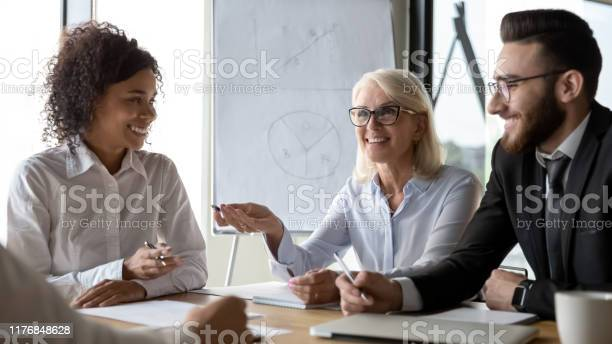 Diverse employees business partners discussing ideas at briefing picture id1176848628?b=1&k=6&m=1176848628&s=612x612&h=mddhdp8rgnedpf9pwpnbticia2s4oxso8wkfqy4tnwe=