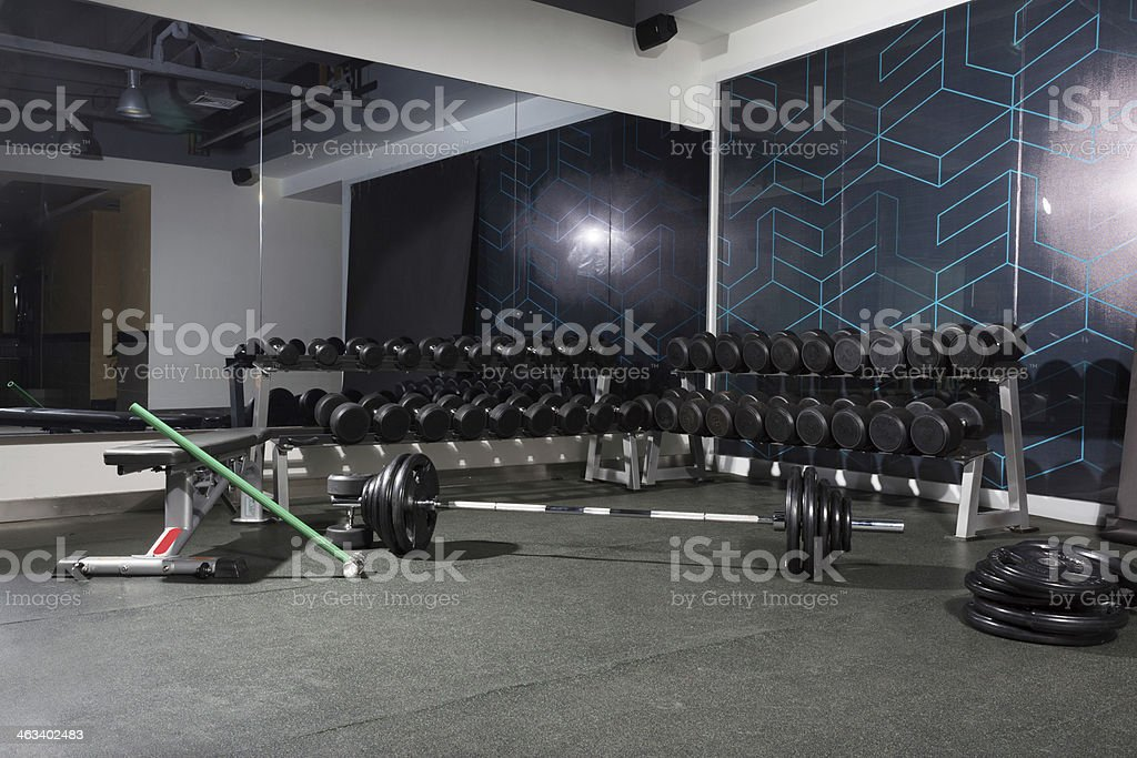 diverse equipment and machines at  gym room stock photo