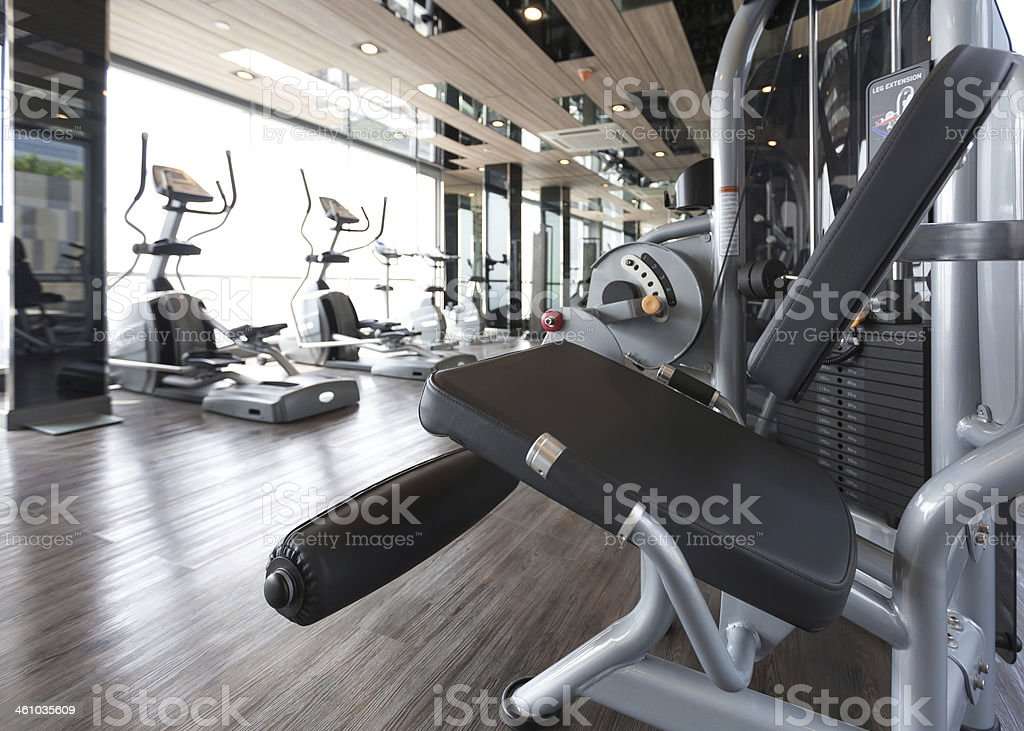 diverse equipment and machines at the gym room royalty-free stock photo