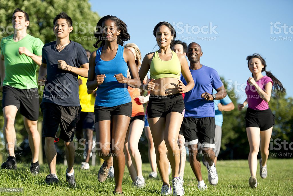 Diverse Fitness Group royalty-free stock photo