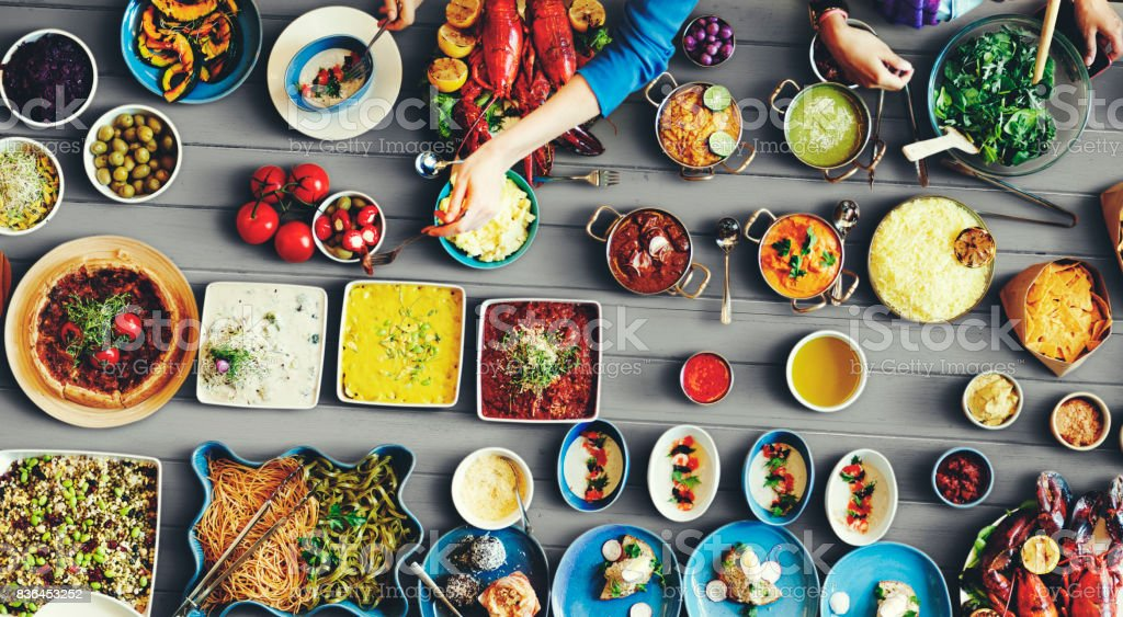 Diverse food on the table stock photo