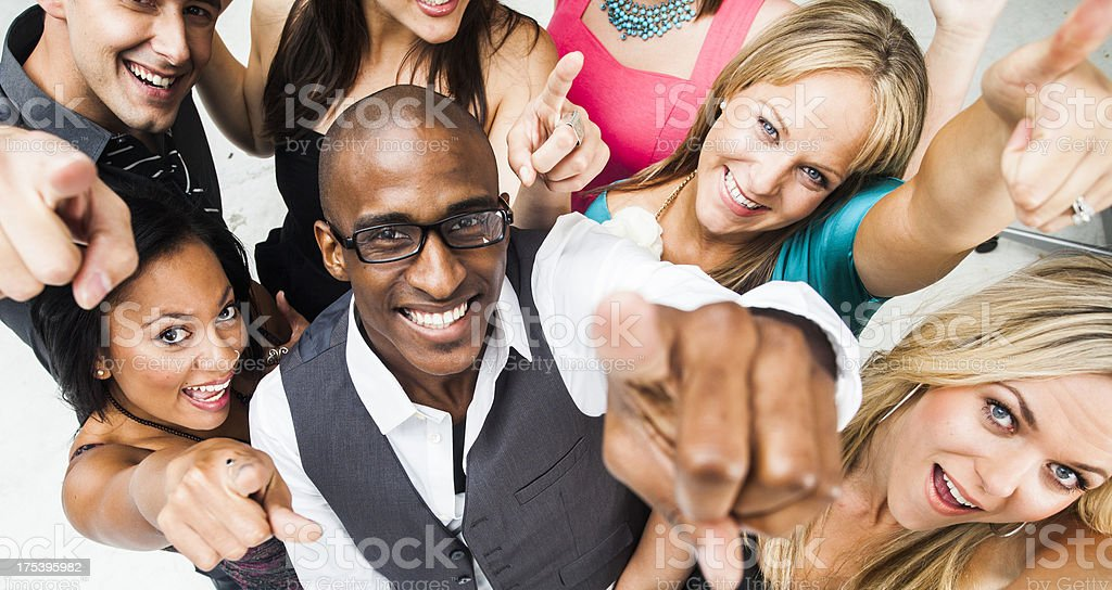Diverse Friends Pointing at Camera royalty-free stock photo