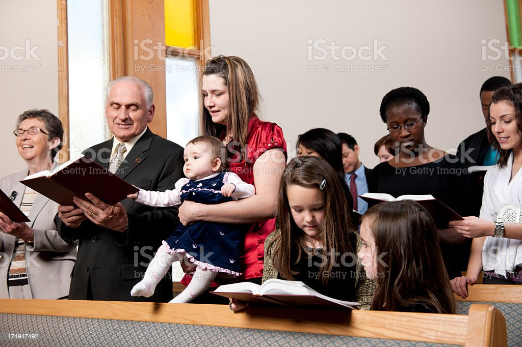 Diverse group at church stock photo