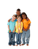 A full length image of a diverse group of children (caucasian and black) who are brothers and sisters, including twins, from two different families.
