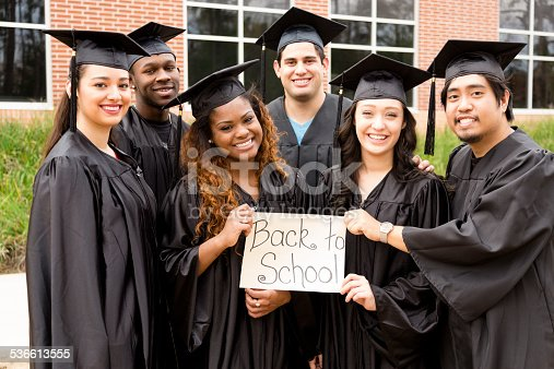 istock Diverse group, friends hold 'Back to School' sign. College graduation. 536613555