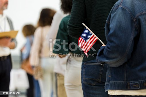 A diverse group of unrecognizable people stand in line to vote.  A woman at the end of the line holds an American flag.