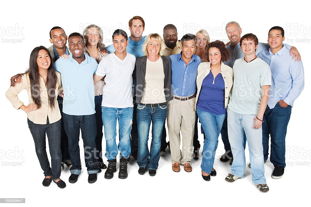 Diverse group of adults on white background royalty-free stock photo