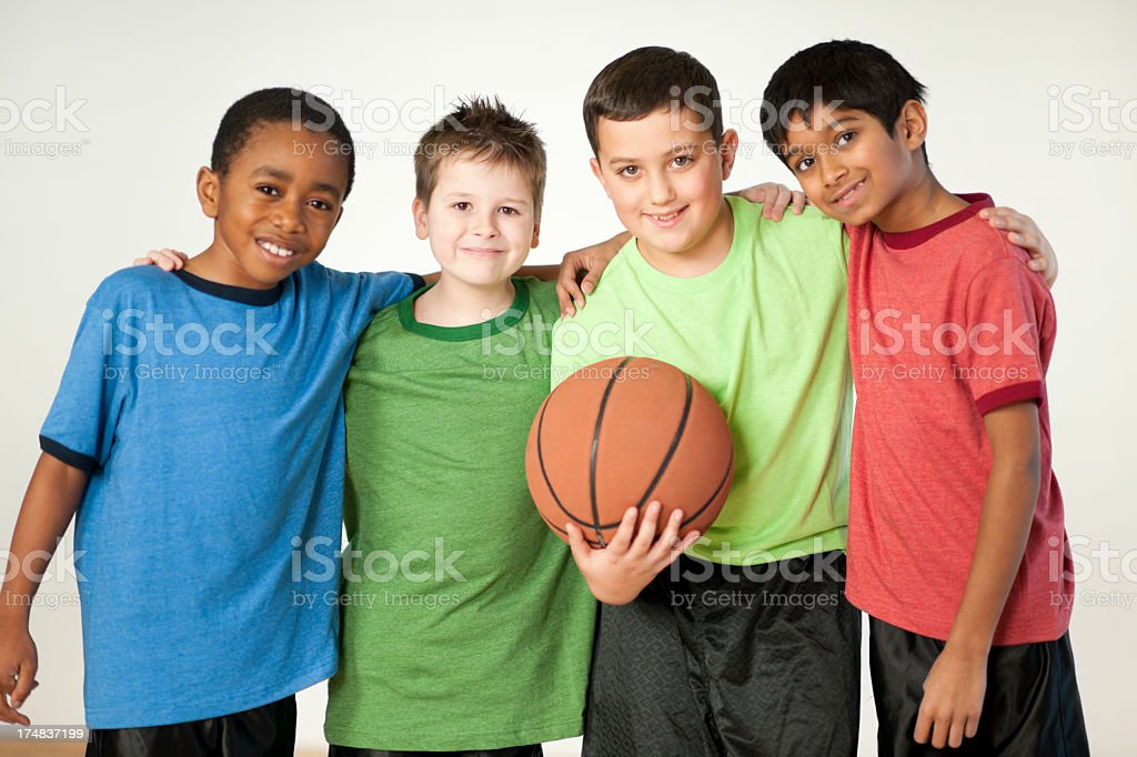 Diverse group of boys royalty-free stock photo