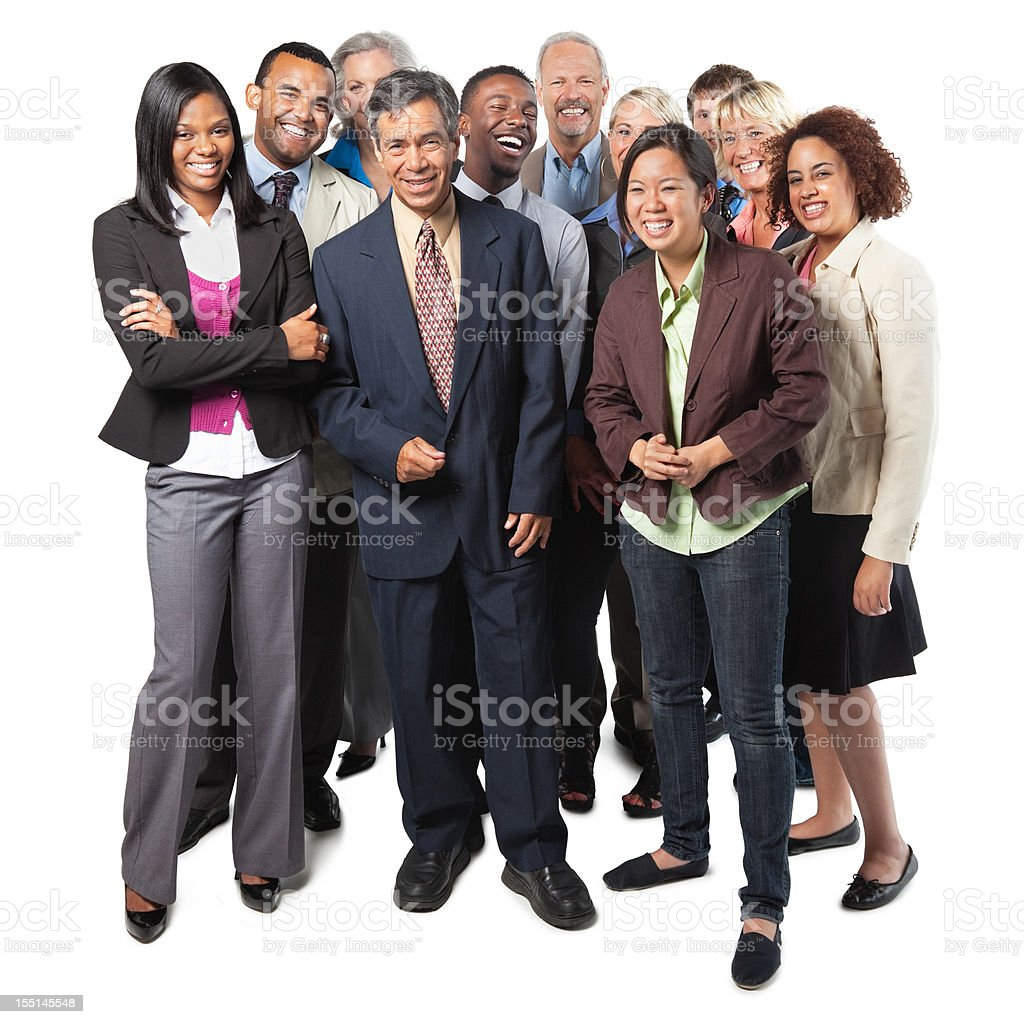 Diverse group of business people, full body shot royalty-free stock photo