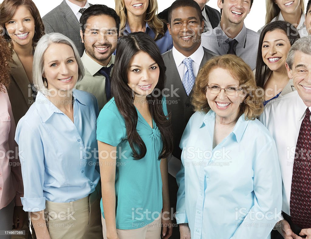 Diverse group of business people; isolated on white stock photo