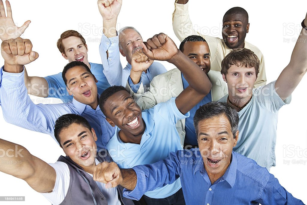 Diverse group of excited men with arms raised royalty-free stock photo