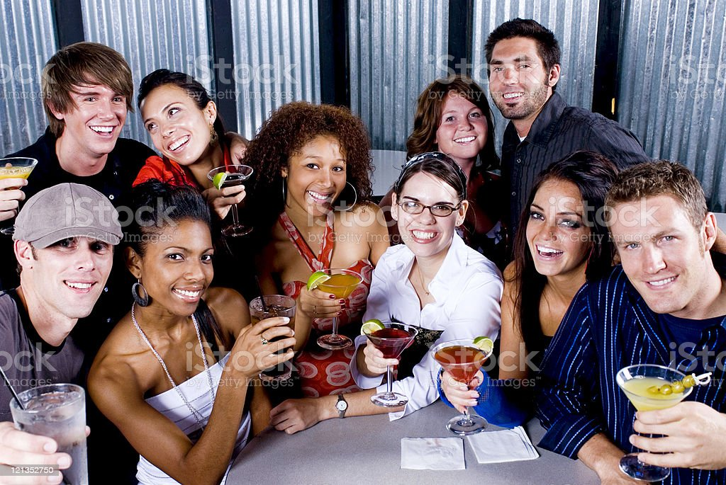 Diverse Group of Friends at Night Club royalty-free stock photo