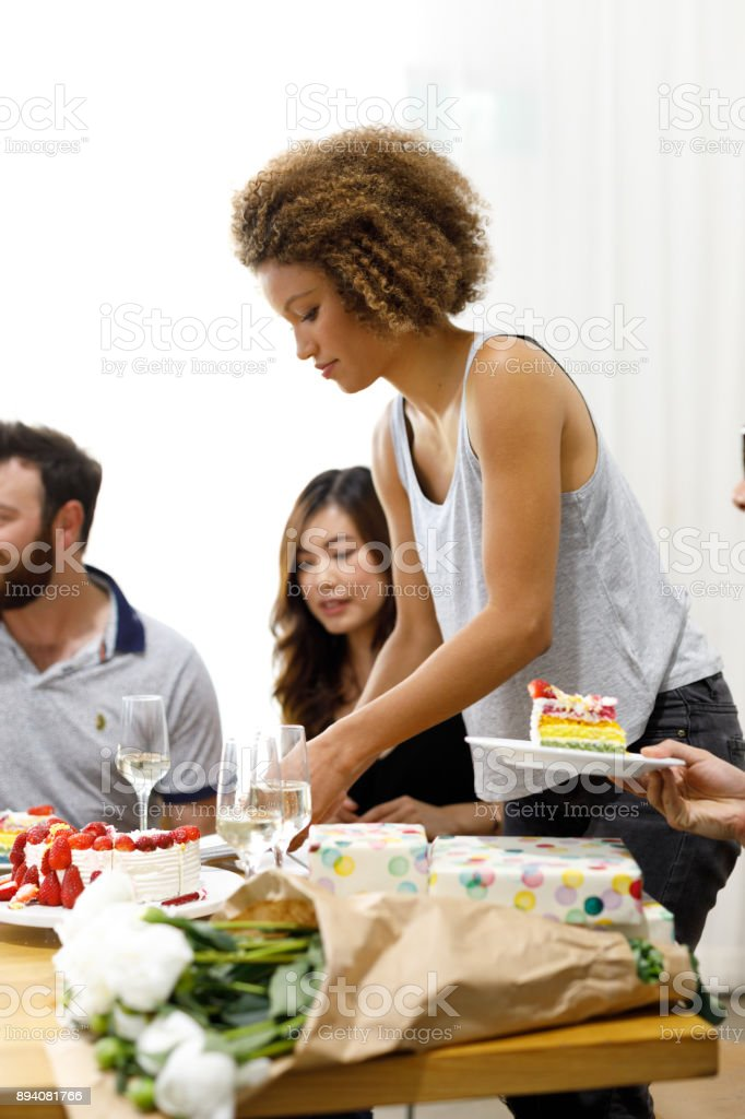 Diverse Group Of Friends Celebrating Birthday stock photo