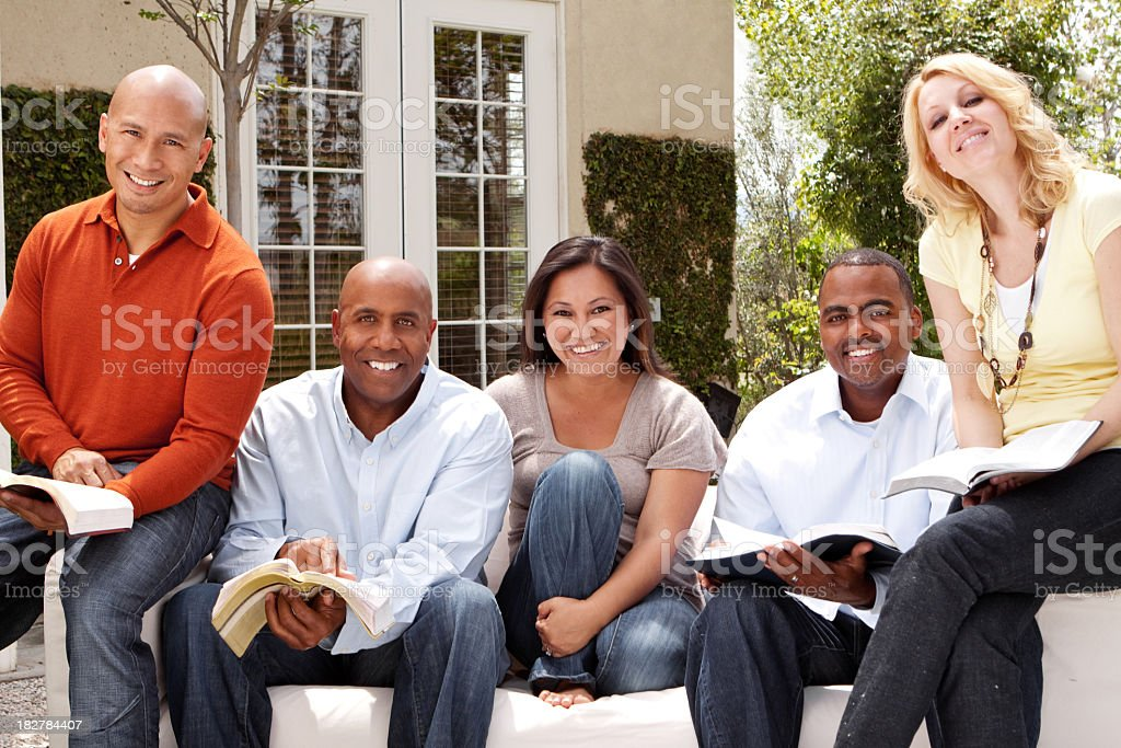 Diverse Group of Friends Reading royalty-free stock photo