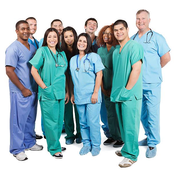 diverse group of happy hospital nurses on white background - hospital studio bildbanksfoton och bilder