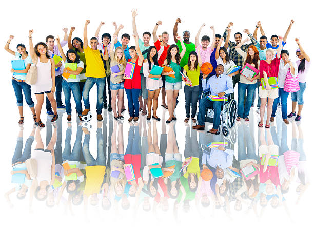 Diverse Group of High School Students with Arms Raised Diverse Group of High School Students with Arms Raised teenagers only stock pictures, royalty-free photos & images