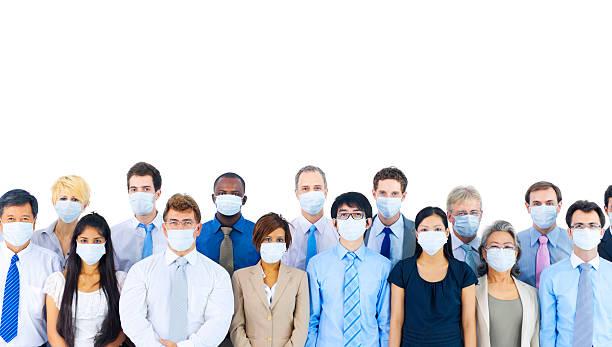 gruppo eterogeneo di international business persone con maschere. - febbre russa foto e immagini stock