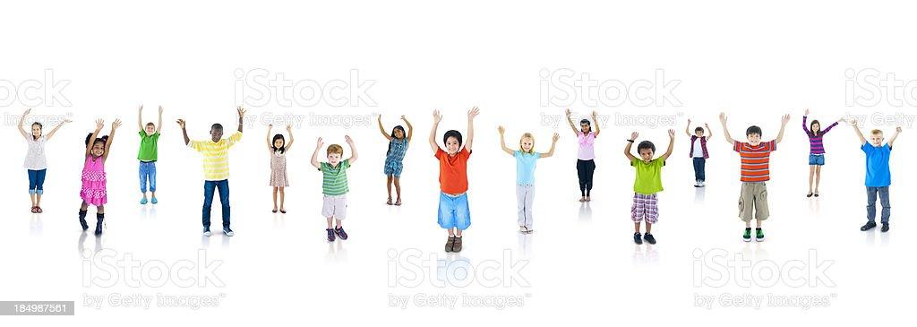 Diverse Group Of Kids Celebrating. royalty-free stock photo